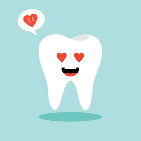 tooth character in flat style vector illustration. White teeth and flat dental icons. Cute vector characters. Illustration for children dentistry about toothache and treatment. Ilustração