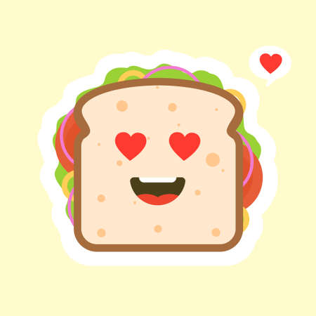 cute and kawaii of sandwich bread character with vegetables. breakfast. slice cheese sandwich with tomato, lettuce & bacon, sausage flat design style. tasty & Appetizing vegetarian food.