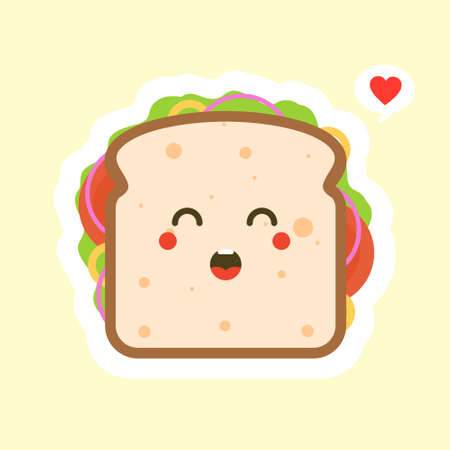 cute and kawaii of sandwich bread character with vegetables. breakfast. slice cheese sandwich with tomato, lettuce & bacon, sausage flat design style. tasty & Appetizing vegetarian food. Vector Illustration