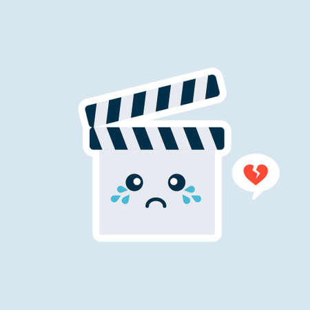 Cute Cartoon Clapperboard Character Vector Icon Illustration. Kawaii Clapperboard Mascot, Movie Icon Concept. Flat Cartoon Style Suitable for Web Landing Page, Banner, Sticker, Background Stock Illustratie