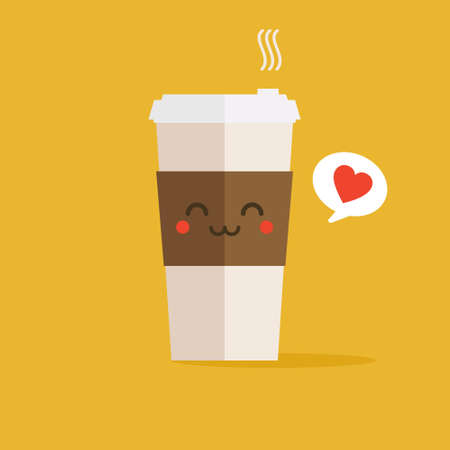 A cup of coffee icon with coffee beans logo, Vector illustration flat design.