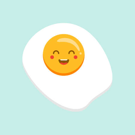 Cute fried egg cartoon character isolated on background vector illustration. Funny fast food menu emoticon face icon. Worried cartoon face food, comical scrambled egg animated mascot Illustration