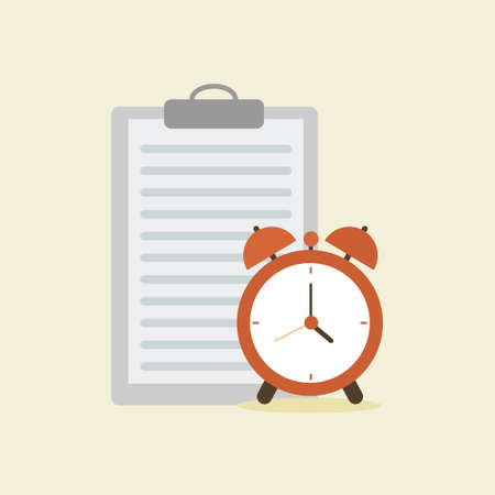 work and paper deadline reminder with document paper and alarm clock flat design vector illustration Illustration