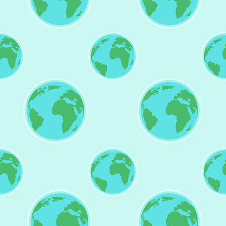 Flat globe seamless pattern. Seal for Earth Day. Vector illustration with the meaning of save the planet. Ideal for wallpaper, wrapping paper, cards, posters, booklets, design.