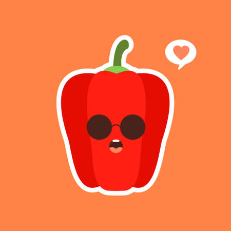 Cute and kawaii red paprika. Healthy Food concept. Pepper with emoji Emoticon. Cartoon characters for kids coloring book, colouring pages, t-shirt print, icon, logo, label, patch, sticker, vegan