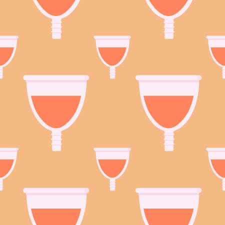 menstrual cup seamless pattern vector illustration