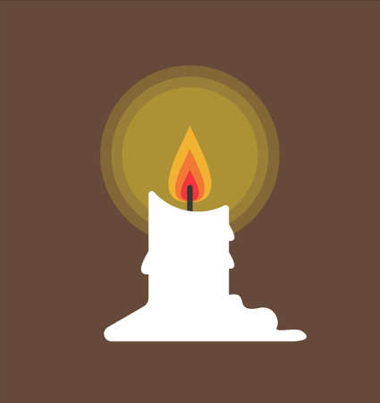 Burning melting wax candle isolated on a brown background. Vector illustration in cartoon simple flat style.