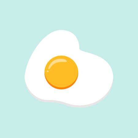 Hand drawn doodle vector illustration of sunny side up fried egg with bright yellow yoke on COLOR background. Culinary food poster card menu template.