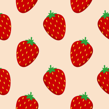 strawberry flat design seamless pattern. Vector illustration of art. Vintage background. Kitchen and restaurant design for fabrics, paper