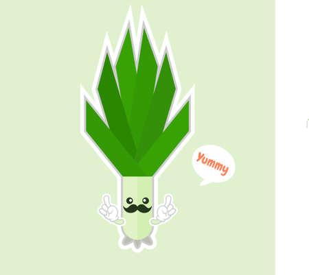 kawaii smiling leek vegetable cartoon illustration. Spring onions on color background. smiling leek vegetable cartoon illustration