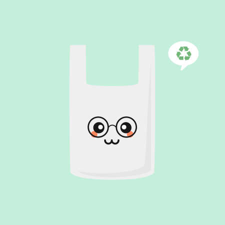 Plastic bag cartoon character vector stickers. Ecologic sticker with plastic pack. Prohibited plastic trash. Proper utilization of non-biodegradable waste. Environmental icon. Sustainable development