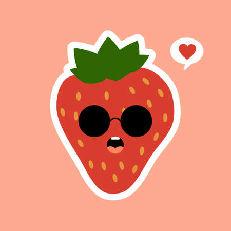 Cute fruit strawberry cartoon character isolated on color background vector illustration. Funny positive and friendly strawberry emoticon face icon. kawaii smile cartoon face food emoji, comical fruit Ilustração Vetorial