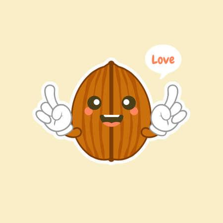 kawaii walnut flat design vector illustration. Useful and fresh food. Vegetarianism and vegans