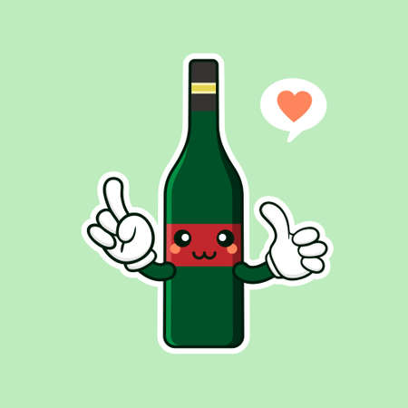 cute and kawaii wine bottle cartoon character flat style vector illustration. funky smiling glass wine bottle character design template for wine menu or wine map Vettoriali