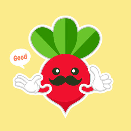 Cute and kawaii beet vegetable character. Vector hand drawn cartoon funny character illustration icon. Isolated on color background. Beet vegetable character concept. vegan vegetarian food