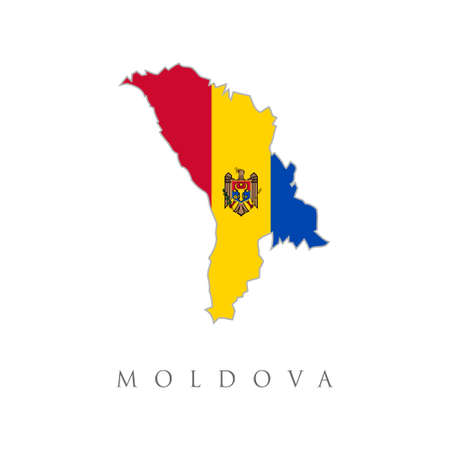 Map of Moldova with flag. Moldova, Republic of high resolution map with national flag. Flag of the country overlaid on detailed outline map isolated on white background. Moldavia map with flag