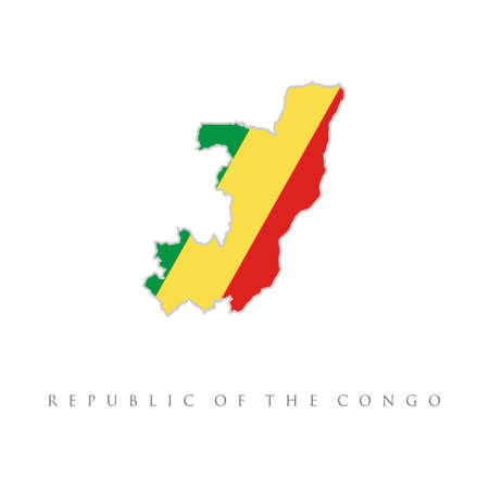 detailed illustration of a map of the Republic of the Congo with flag, Republic of the Congo vector map with the flag inside. African map illustration, vector isolated on white background Vetores