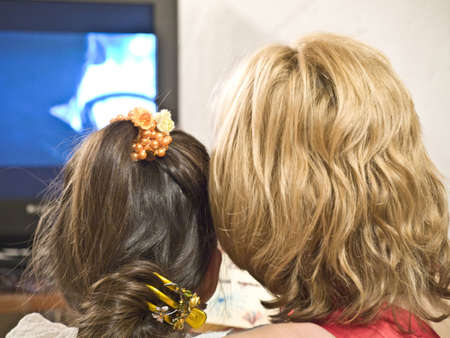 Daughter,mother and tv