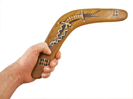 hand hold boomerang, 255 Stock Photo - 3010880
