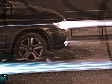 Nightly traffic, xenon beams Stock Photo - 3703630