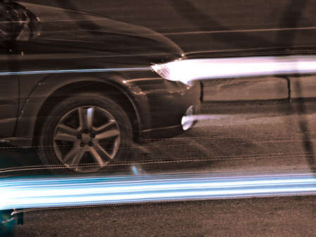 Nightly traffic, xenon beams Stock Photo - 3703630