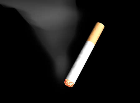 ignited: the started cigarette, 3d isolation Stock Photo