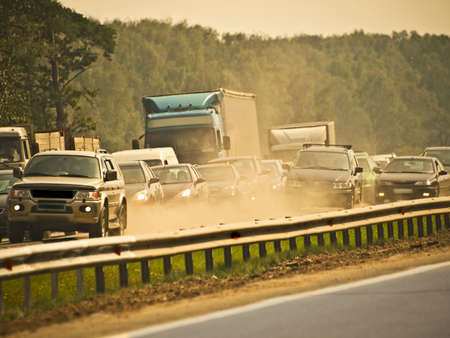 brisk: jammed traffic, dust and smog Stock Photo