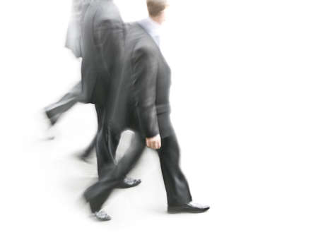 Group of businessmen in motion