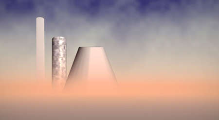 toxic emissions: fumed chimneys in desert, 3d concept Stock Photo
