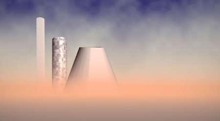 noxious: fumed chimneys in desert, 3d concept Stock Photo