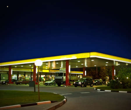 petrol station: the gas station at night