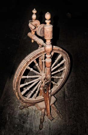 flywheel: distaff on wooden floor, shading