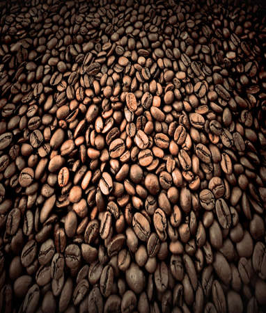 bunchy: burnt coffee beans in motion Stock Photo