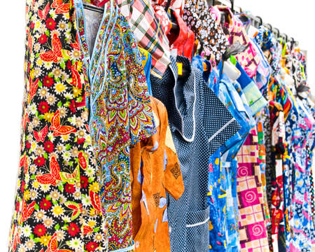 dressing gowns: Colorful dressing gowns on rack