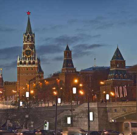 turrets: Kremlin turrets and city traffic (Russia, Moscow, night) Stock Photo