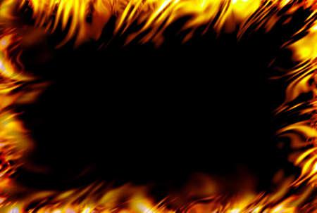 framed fire over black Stock fotó
