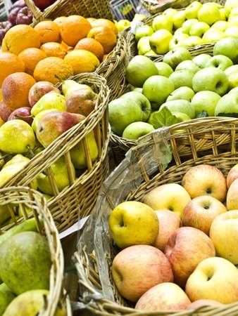 Various fruits baskets, close-up  photo