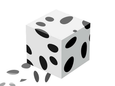 dappled: Conceptual cube with its tracks Stock Photo