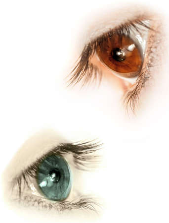see side: Various eyes without makeups  Stock Photo