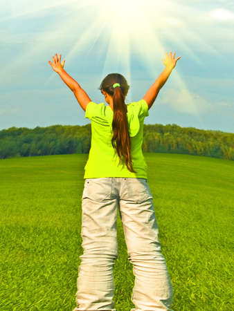 preteen  pure: Joyful preteen in field, fisheye lense Stock Photo