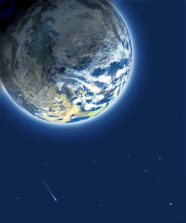 Pianeta blu al cielo stellare Archivio Fotografico - 6548296