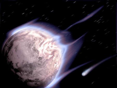 Meteorite shower, motion