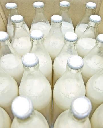 box of bottled milk photo