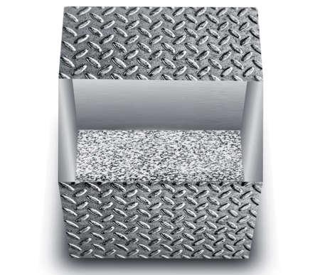 textured metal bin