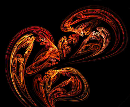 fiery fractal in black  photo