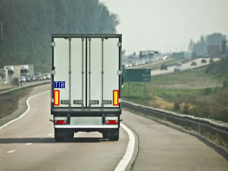haulage: lorry trailer in motion