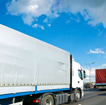 freight traffic: lorry truck on way Stock Photo