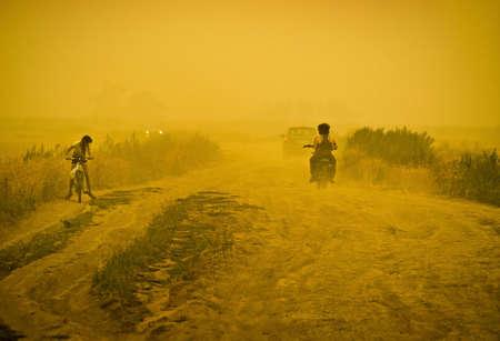 Sandstorm on road
