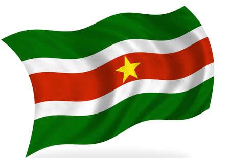 suriname: Vlag van Suriname, geïsoleerd Stockfoto