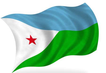 djibouti: Djibouti  flag, isolated Stock Photo